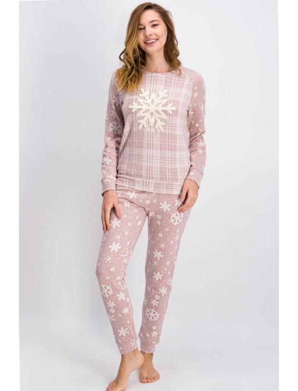 Açık Gül Kurusu Big Snow Kadın Pijama Takımı