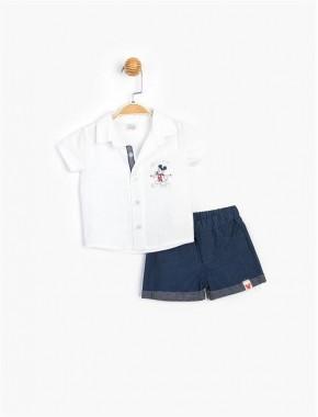 Baby Erkek Bebek Mickey Mouse Lisanslı Gömlekli Şortlu 2 Li Takım T20Y15605DSN01