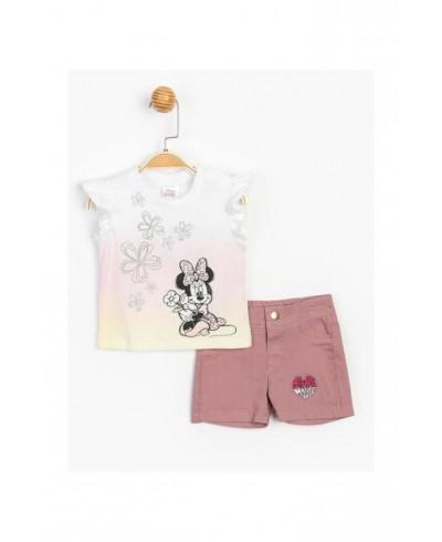 Baby Minnie Mouse Kız Bebek Kot Şortlu 2 Li Takım T20Y15521DSN01
