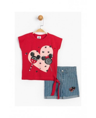 Baby Minnie Mouse Kız Çocuk Yandan Bağlamalı Kot Şortlu 2 Li Takım T20Y15543DSN01