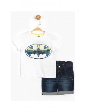 Batman Lisanslı Erkek Çocuk Kot Şortlu 2li Takım T20Y15579DSN01