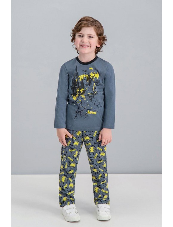 Batman Lisanslı Gri Erkek Çocuk Pijama Takımı V1