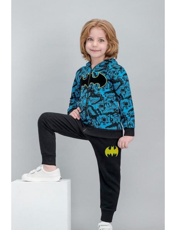 Batman Lisanslı Koyu Grimelanj Erkek Çocuk Kapüşonlu Eşofman Takımı V1