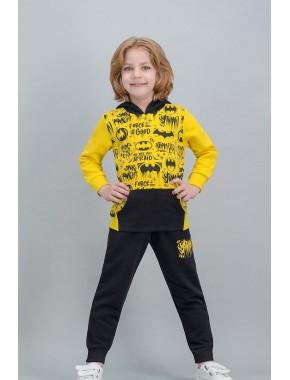 Batman Lisanslı Sarı Erkek Çocuk Kapüşonlu Kanguru Cepli Eşofman Takımı V1