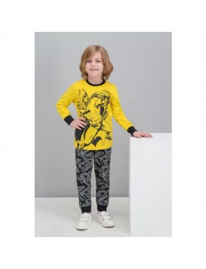 Batman Lisanslı Sarı Erkek Çocuk Pijama Takımı