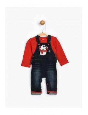 Bebek Kırmızı Kot Salopet Takım 16543