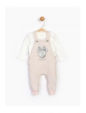 Bebek Pembe Ekru Minnie Bebek Salopet Takım 16093
