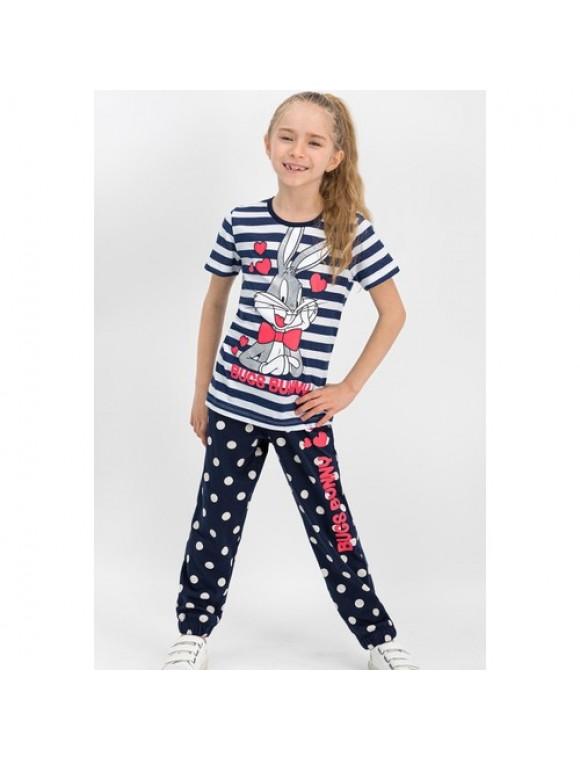 Bugs Bunny Lisanslı Lacivert Kız Çocuk Pijama Takımı