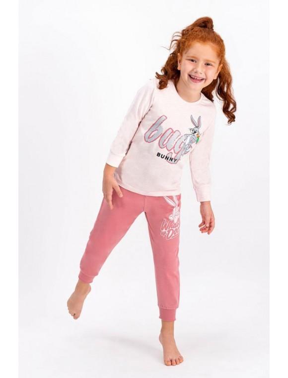 Bugs Bunny Lisanslı Pembemelanj Lisanslı Kız Çocuk Pijama Takımı