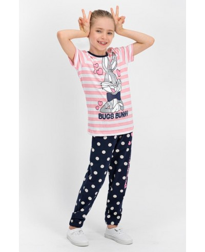 Bugs Bunny Lisanslı Şeker Pembe Kız Çocuk Pijama Takımı L1112-C