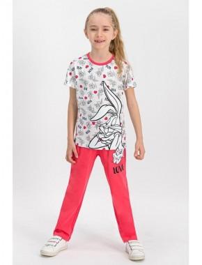 Bugs Bunny Lisanslı Kız Çocuk Pijama Takımı