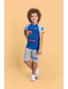 Cars Lisanslı Saks Mavi Erkek Çocuk Bermuda Takım D4150-C-V1