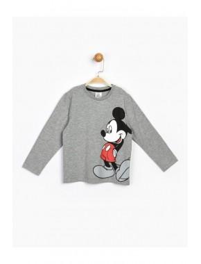 Çocuk Gri Mickey Uzun Kol Tişört 17217