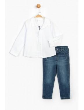 Çocuk Kot Pantolon Gömlek Takım 15718 BPN15718-20Y1