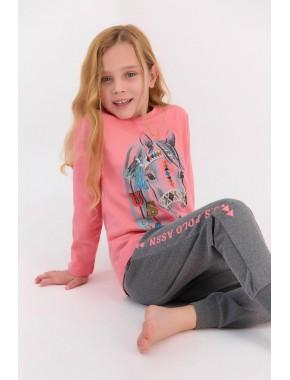 Coral Kız Çocuk Uzun Kol Ribanalı Pijama Takımı