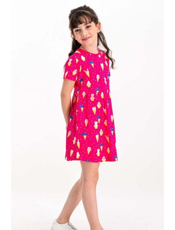 Cute Ice Cream Fuşya Kız Çocuk Homewear Elbise RP1782-C
