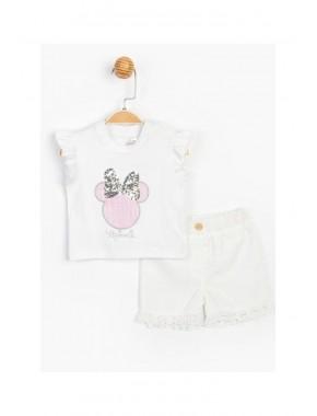 Disney Baby Kız Bebek Minnie Mouse Lisanslı Dantelli Şortlu 2 Li Takım T20Y15640DSN01