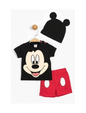 Disney Mickey Mouse Lisanslı Erkek Bebek Şapkalı Şortlu 3 Lü Takım 15593