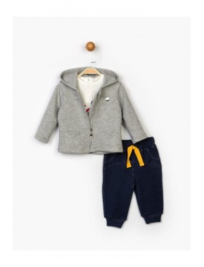 Erkek Bebek Gri 3'lü Takım 16354