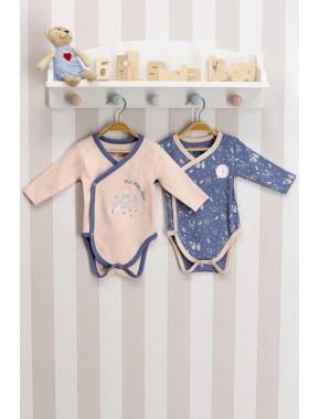 Erkek Bebek Somon Mavi Bebek 2'li Body Zıbın