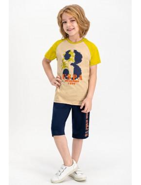 Erkek Çocuk Bej Lisanslı Kum  Kapri Takım