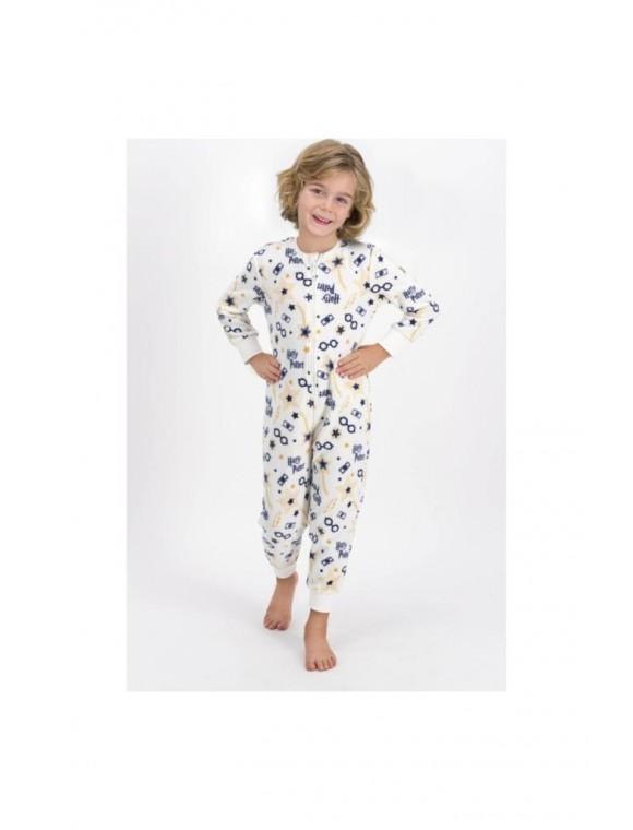 Erkek Çocuk Bej Polar Pijama Takımı