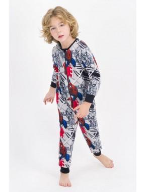 Erkek Çocuk Gri  Spider Man Lisanslı Polar Tulum