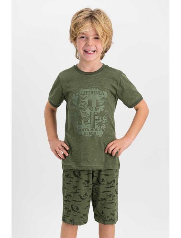 Erkek Çocuk Haki Bermuda Takım