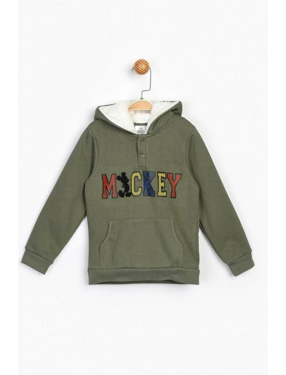 Erkek Çocuk Haki Mickey Kapşonlu Sweatshirt 16221