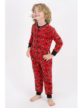 Erkek Çocuk Kırmızı Spider Man Lisanslı Polar Tulum