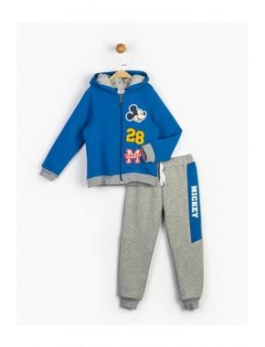 Erkek Çocuk Mavi Mickey Kapüşonlu Takım 16226