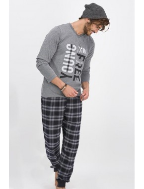 Erkek Gri Young Free Antrasitmelanj Pijama Takımı