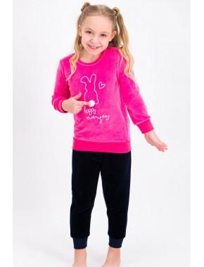 Happy Everyday Şeker Pembe Kız Çocuk Kadife Eşofman Takımı