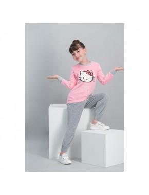 Hello Kitty Lisanslı Açık Pembe Kız Çocuk Kadife Pijama Takımı