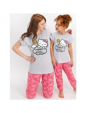 Hello Kitty Lisanslı Karmelanj Kız Çocuk Pijama Takımı