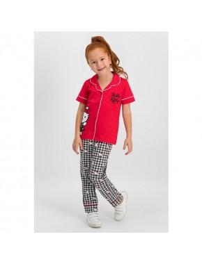 Hello Kitty Lisanslı Kırmızı Kız Çocuk Gömlek Pijama Takımı