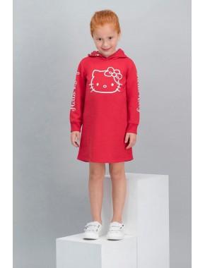 Hello Kitty Lisanslı Kırmızı Kız Çocuk Kapüşonlu Elbise V1