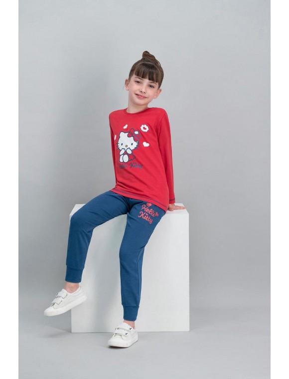 Hello Kitty Lisanslı Kırmızı Kız Çocuk Pijama Takımı V1