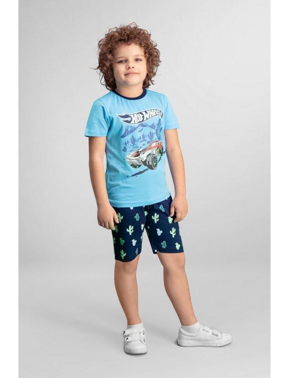 Hot Wheels Lisanslı Mavi Erkek Çocuk Bermuda Takım L9924-C-V1