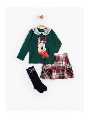 Kadın Yeşil Minnie Etekli Takım ve Çorap 16119