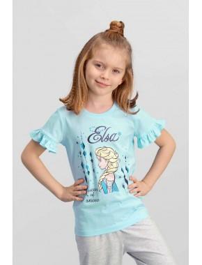 Karlar Ülkesi Elsa - Frozen Lisanslı Mavi Kız Çocuk T-Shirt TD-116-C-V3