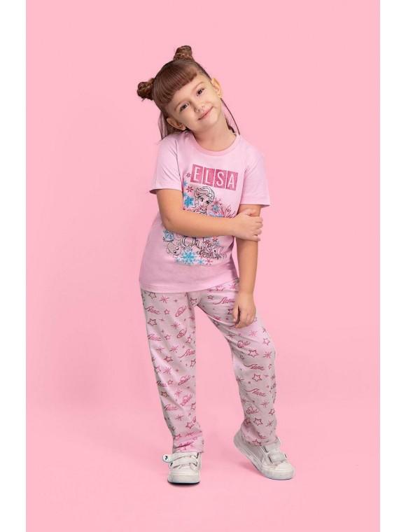 Karlar Ülkesi Elsa - Frozen Lisanslı Pembe Kız Çocuk Pijama Takımı D4130-C-V1