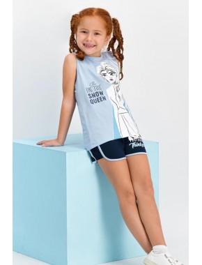 Karlar Ülkesi - Frozen Lisanslı Açık Mavi Kız Çocuk Şort Takım D4321-C