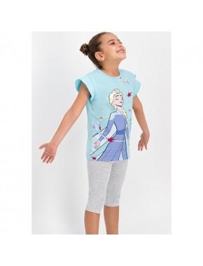 Karlar Ülkesi - Frozen Lisanslı Bebe Mavi Kız Çocuk Tayt Kapri Takım