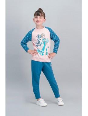 Karlar Ülkesi - Frozen Lisanslı İnci Pembe Kız Çocuk Pijama Takımı V1