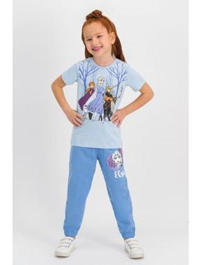 Karlar Ülkesi - Frozen Lisanslı Krem Kız Çocuk Pijama Takımı D4320-C