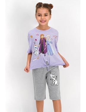 Karlar Ülkesi - Frozen Lisanslı Lila Kız Çocuk Kapri Takım D4323-C