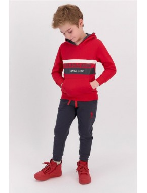 Kırmızı Erkek Çocuk Kapşonlu Eşofman Takımı