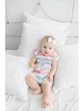 Kız Bebek Alttan Çıtçılı Kısa Şort Tulum T20Y15384PNL01