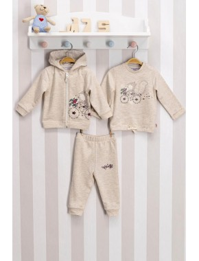 Kız Bebek Bej 3lü Takım Set